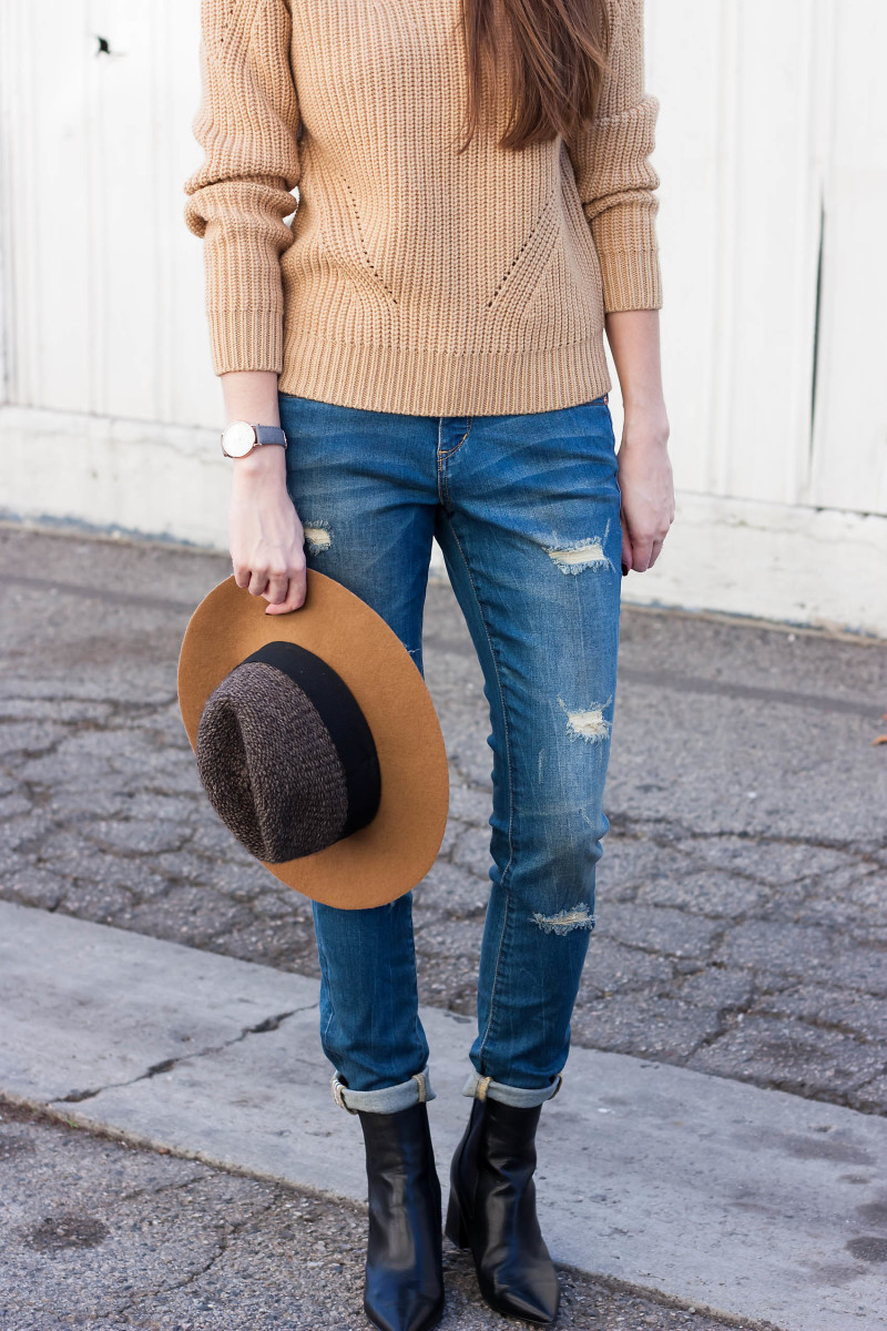 Fashion Blogger wearing JAG Sheridan Skinny Jeans and Marc Fisher Booties
