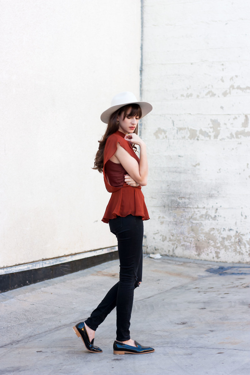 Los Angeles Style Blogger wearing a Line and Dot Blouse, Everlane Loafers and Kin K Hat