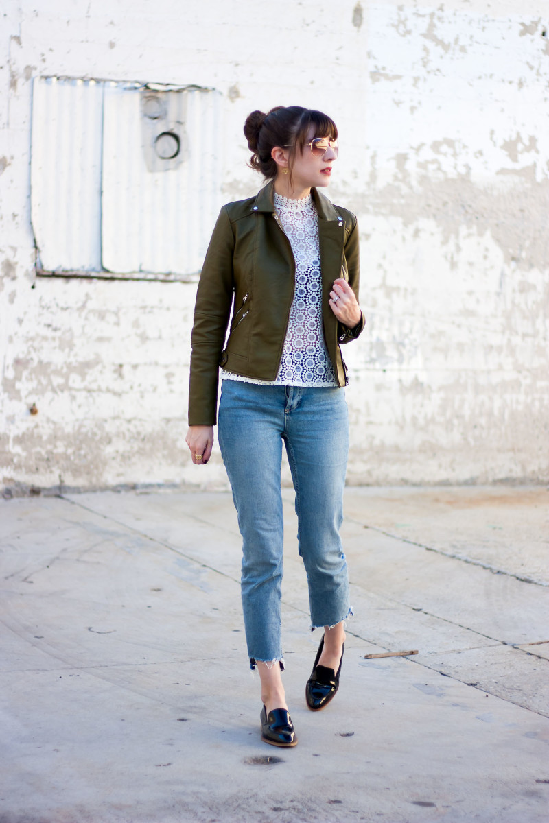 Los Angeles Style Blogger wearing a Zara leather jacket and crochet top.