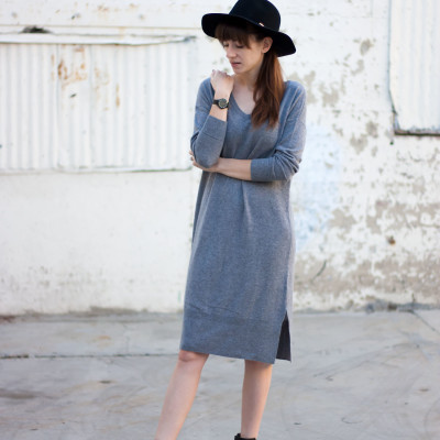 Grey Cashmere Sweater Dress