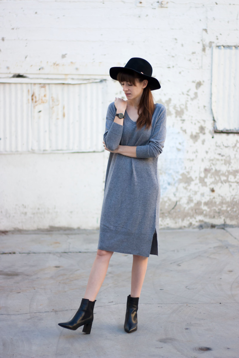 Jeans and a Teacup wearing a Grana Cashmere Sweater Dress and Marc Fisher Booties