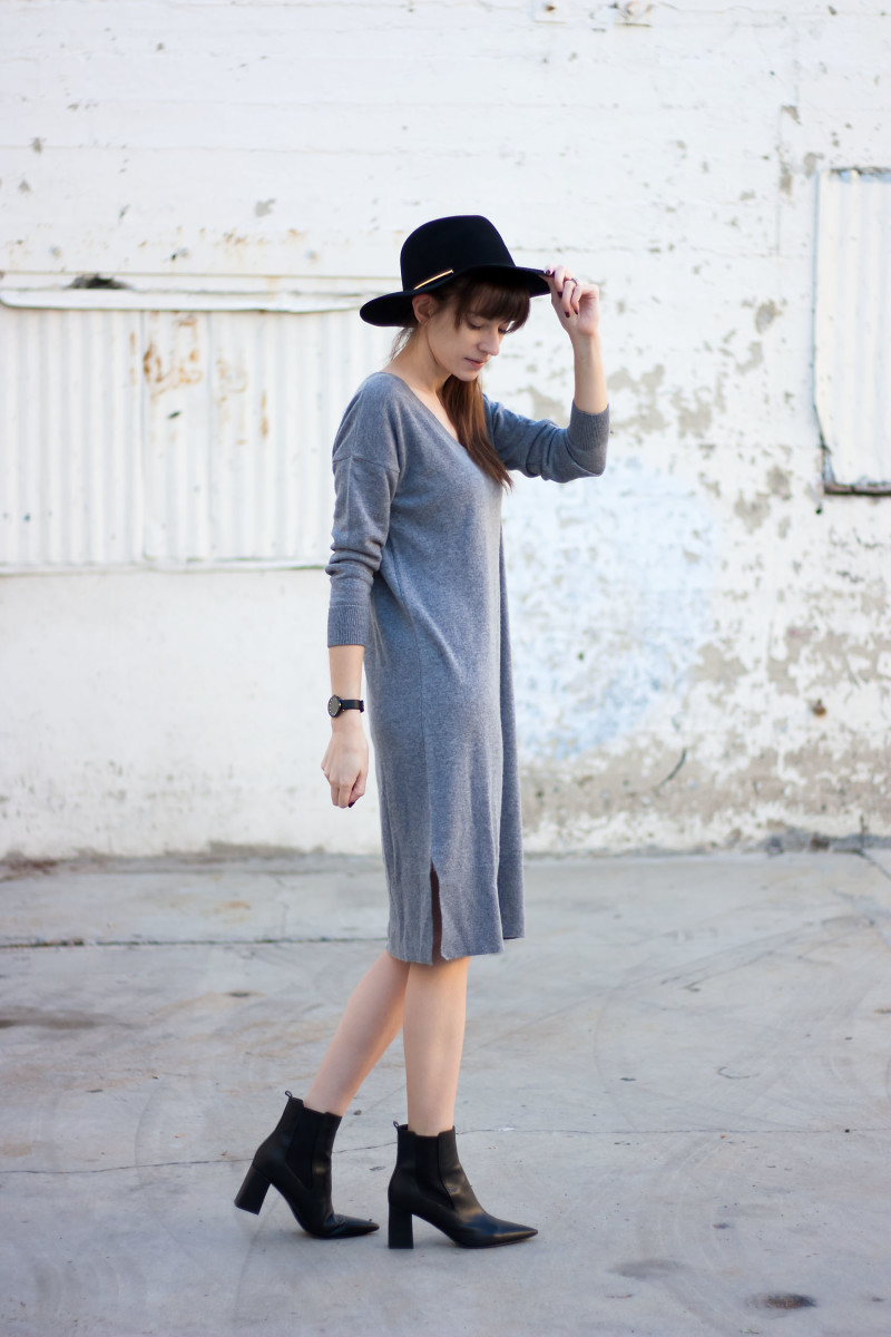 Los Angeles Fashion Blogger wearing a Grana Boyfriend sweater dress and black ankle booties