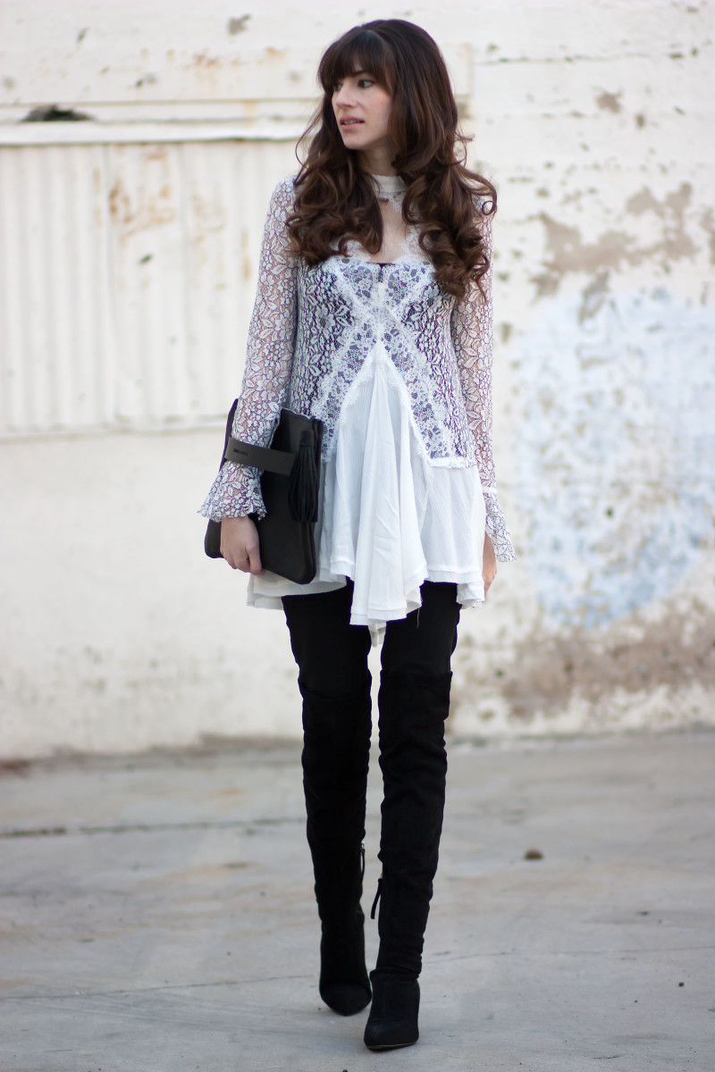 Los Angeles Fashion Blogger wearing Free People Lace Tunic and Over the Knee boots