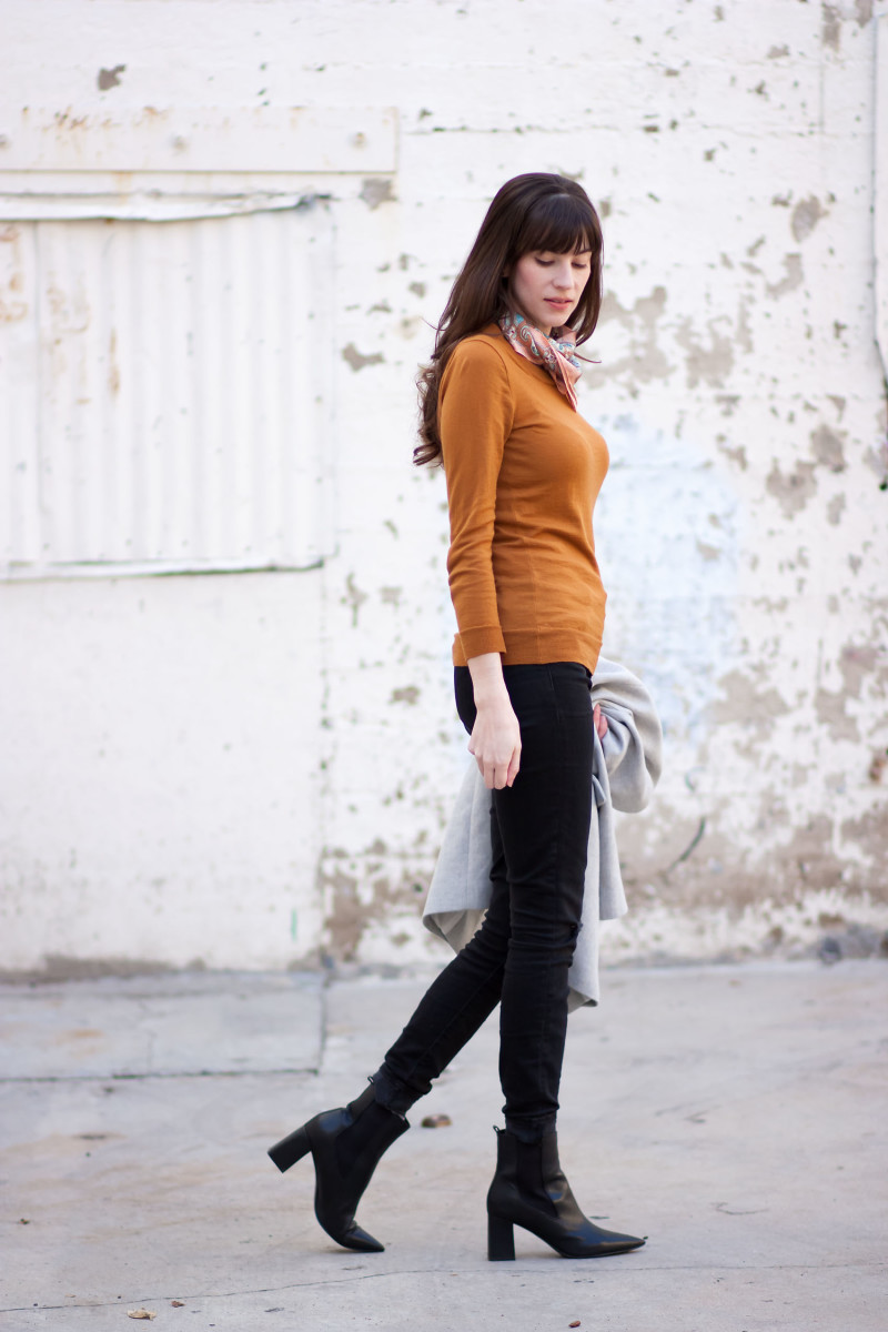 Los Angeles Style Blogger wearing Marc Fisher Booties and J.Crew Sweater