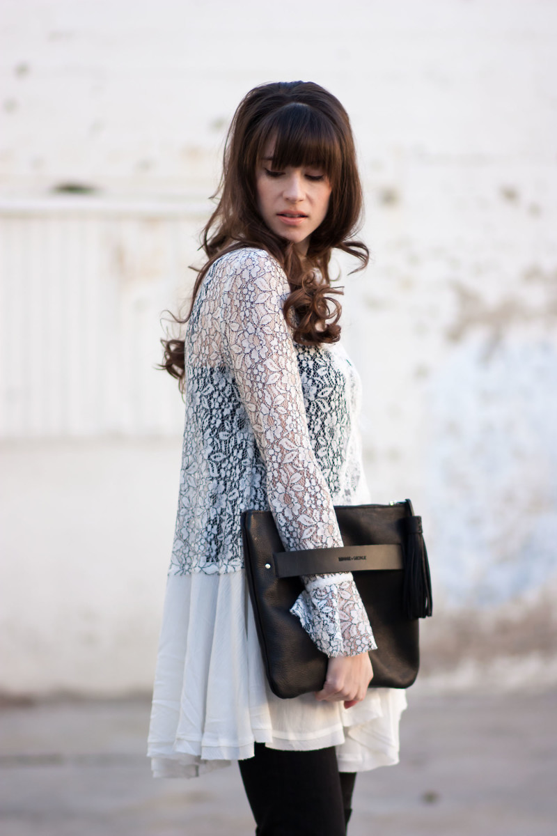 Jeans and a Teacup wearing a Free People Lace Swing Top and Minnie and George Clutch