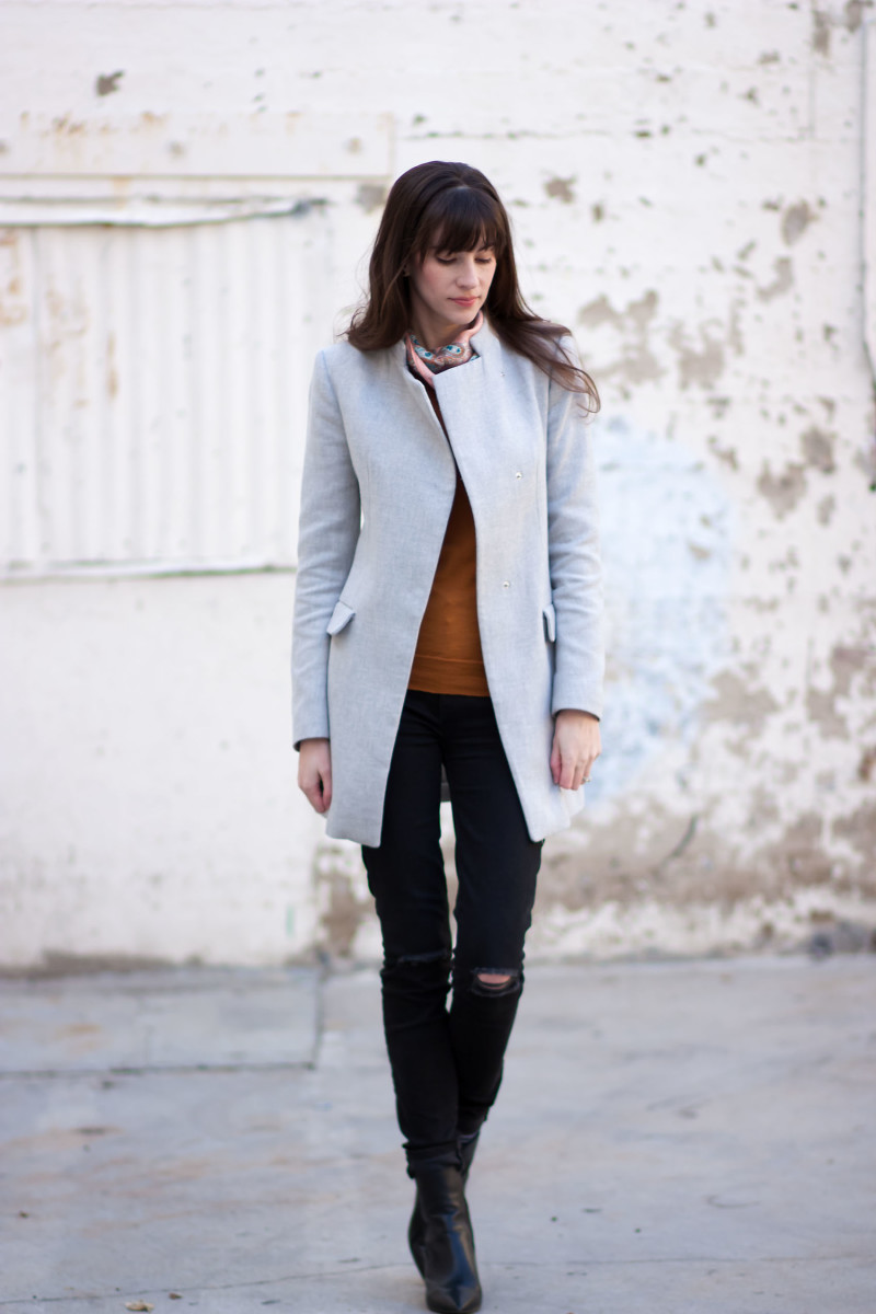 Los Angeles Fashion Blogger wearing grey zara jacket and Marc Fisher Booties