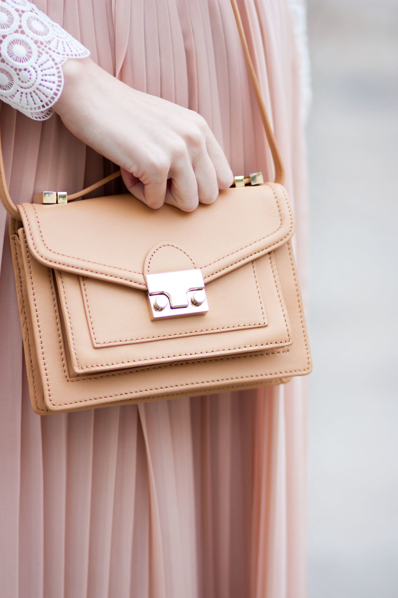 Style Blogger wearing a Loeffler Randall Mini Rider Bag