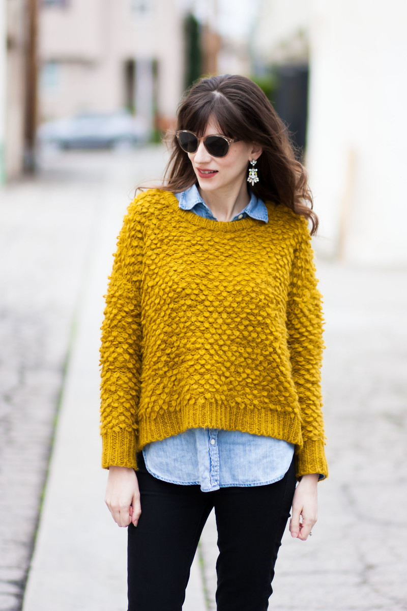 Los Angeles Fashion Blogger wearing Madewell Popstitch Sweater