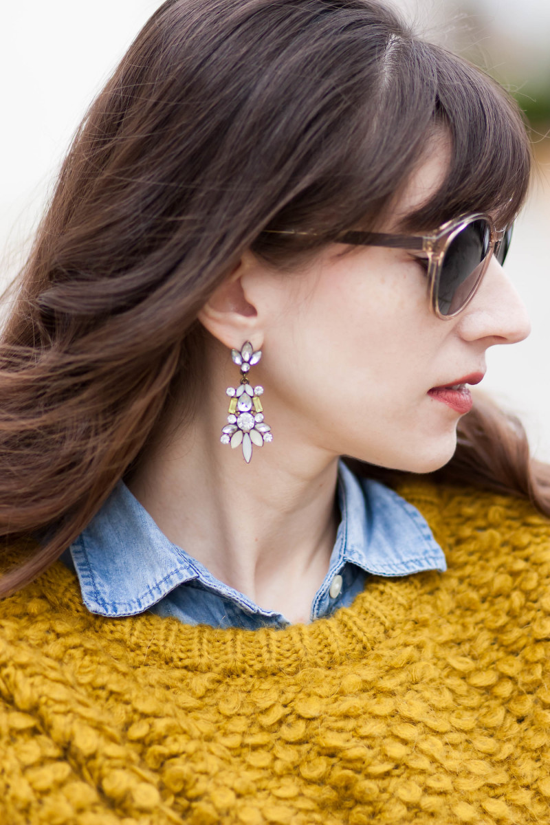 Jeans and a Teacup wearing Anthropologie statement earrings and fuzzy sweater