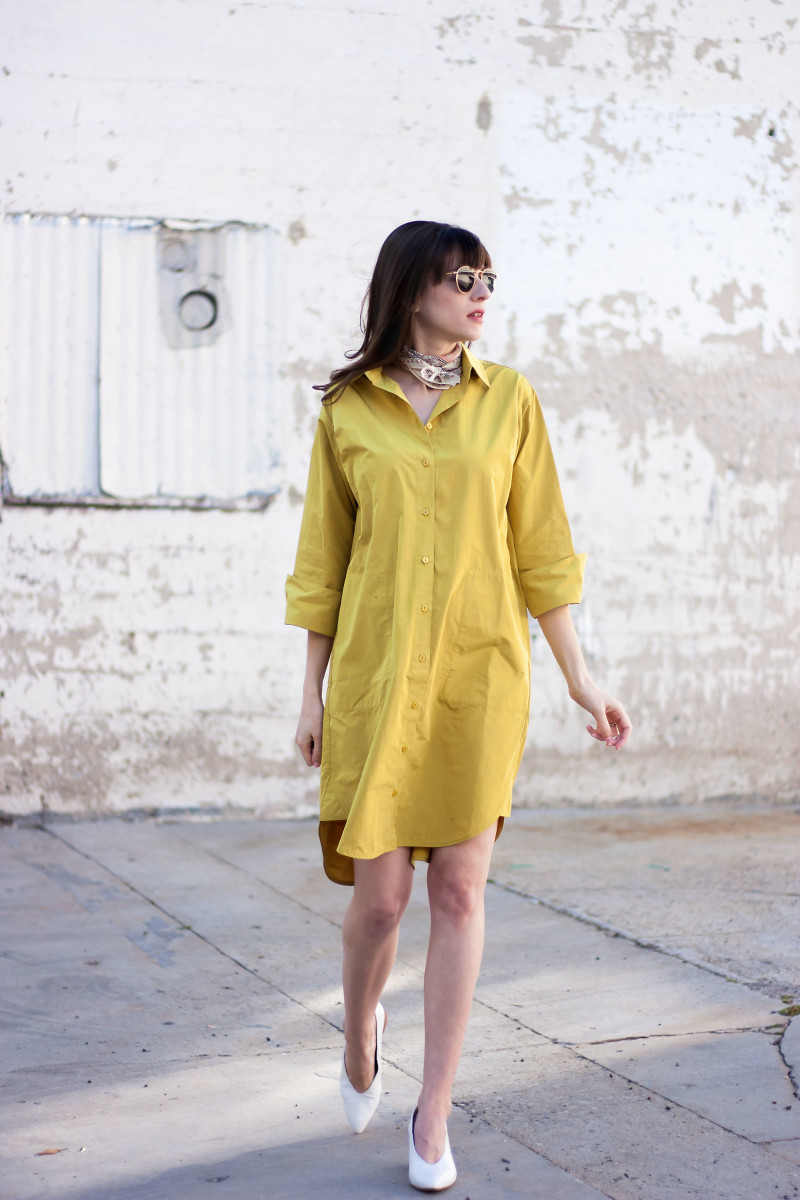 Los Angeles Minimalist Style Blogger wearing a mustard shirdress