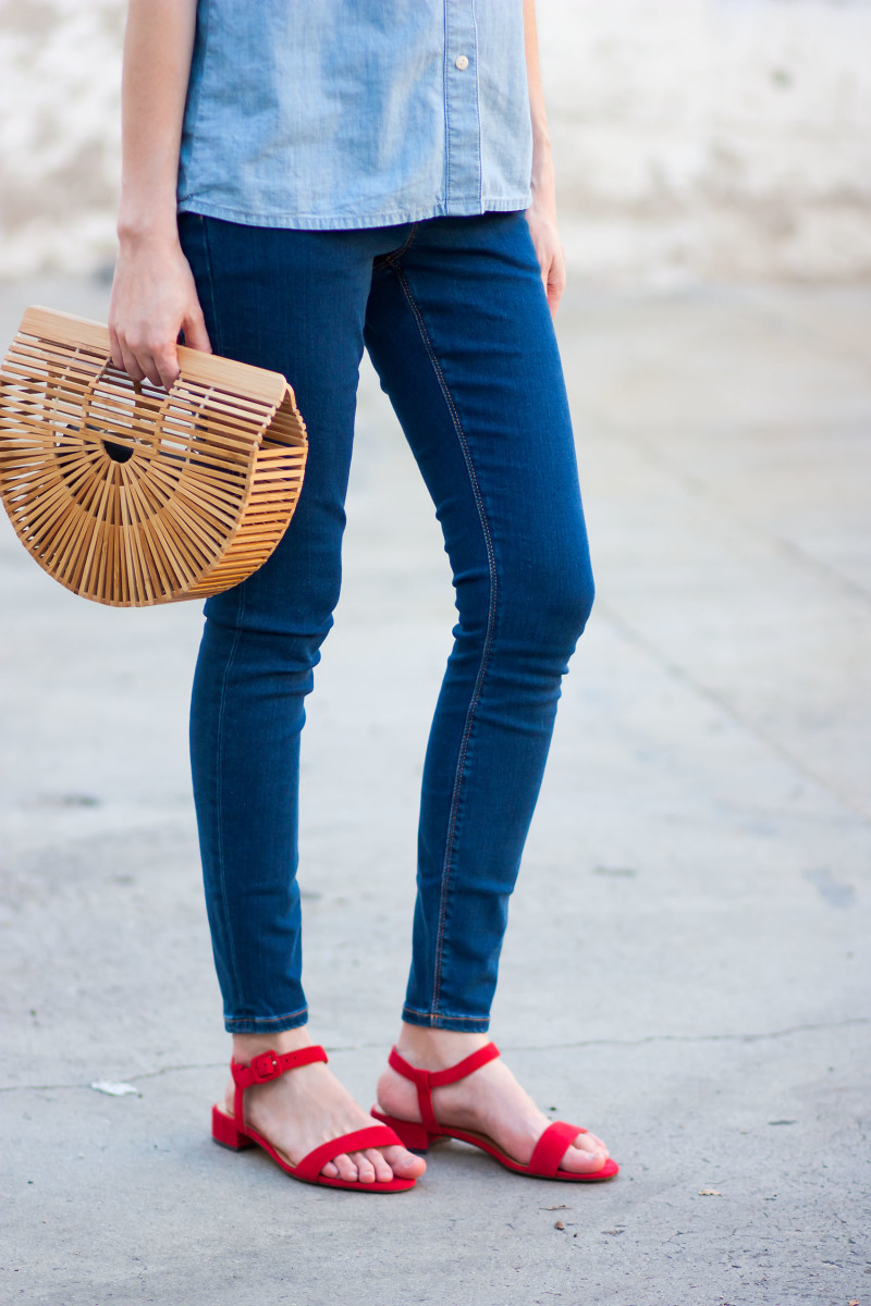 Minimalist Style Blogger wearing red Banana Republic Sandals with Bamboo Clutch
