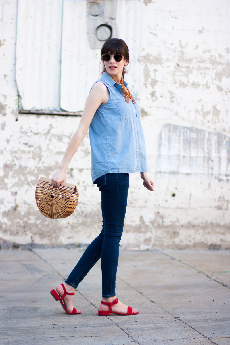 Jeans and a Teacup Style Blogger with Cult Gaia Bamboo Ark Bag