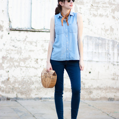 A Double Denim Look with Fun Accessories