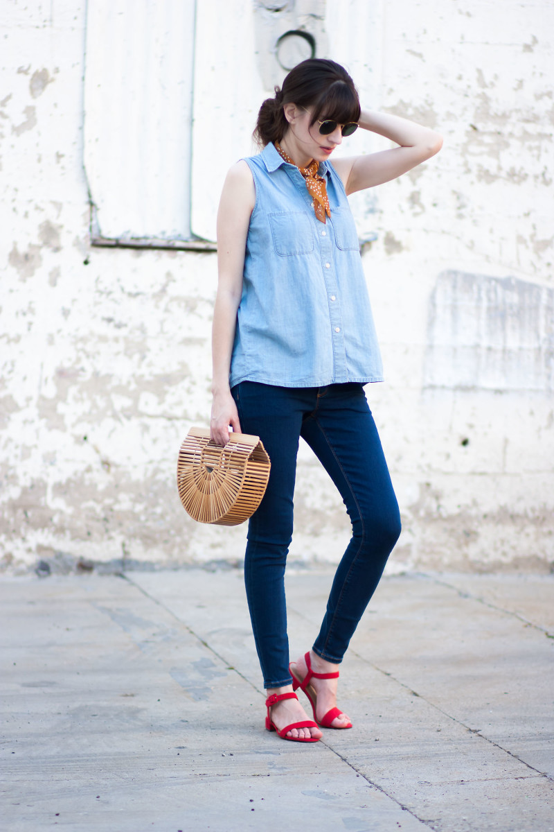 Los Angeles Fashion Blogger wearing double denim outfit with red sandals