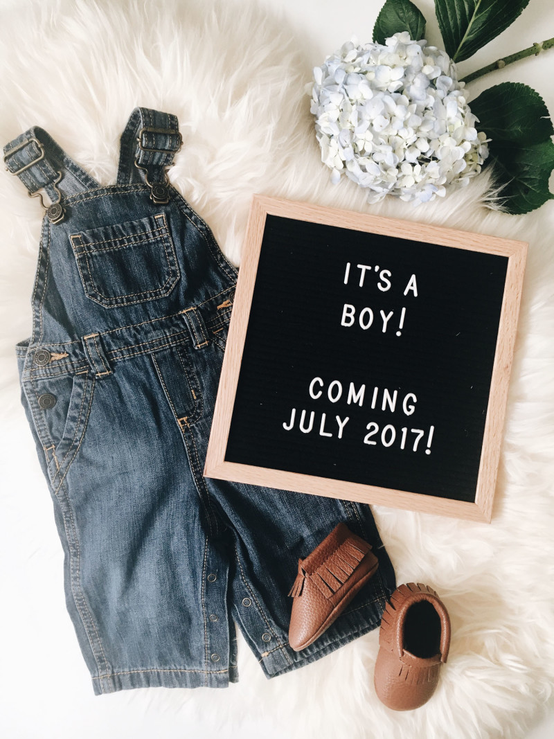 Gender Reveal Photo with Letterfolk board and Sweet N Swag booties