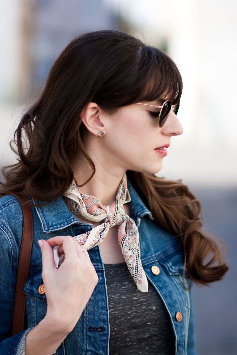 Style blogger wearing Madewell silk scarf and Dear Survivor Earrings