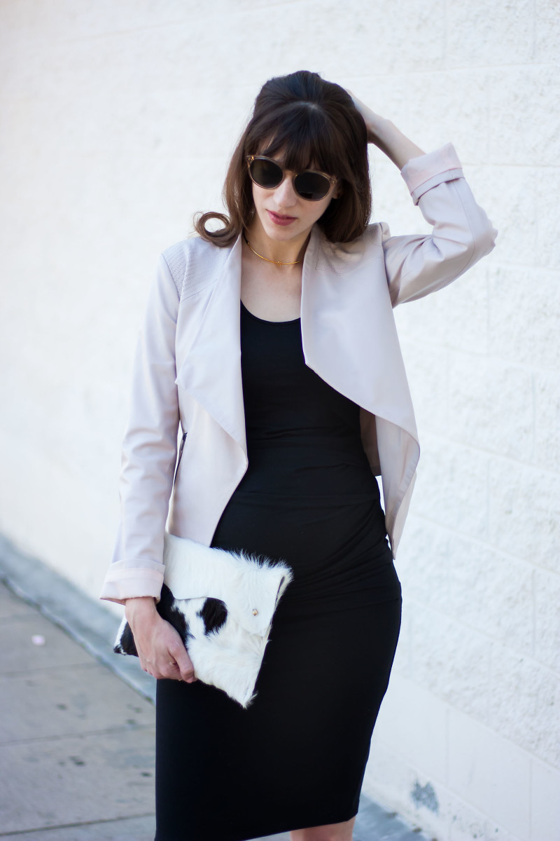 Pregnant Los Angeles Style Blogger wearing a black maternity dress and BB Dakota Jacket