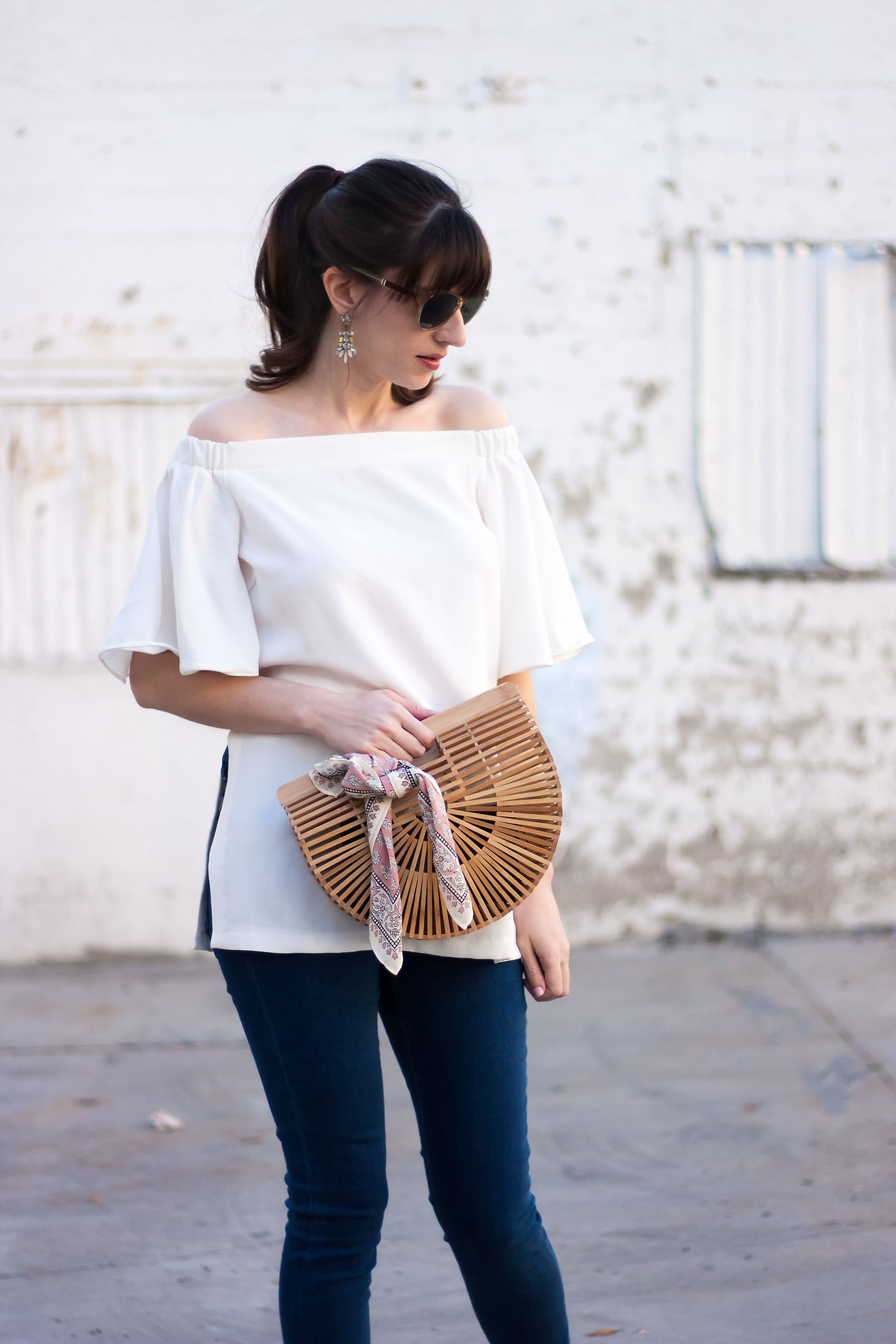Los Angeles Style Blogger with Cult Gaia bamboo bag and silk scarf