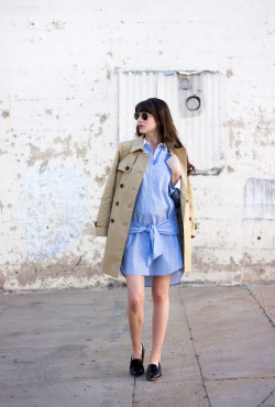 Jeans and a Teacup wearing J.Crew trench coat, shirtdress and Everlane Loafers