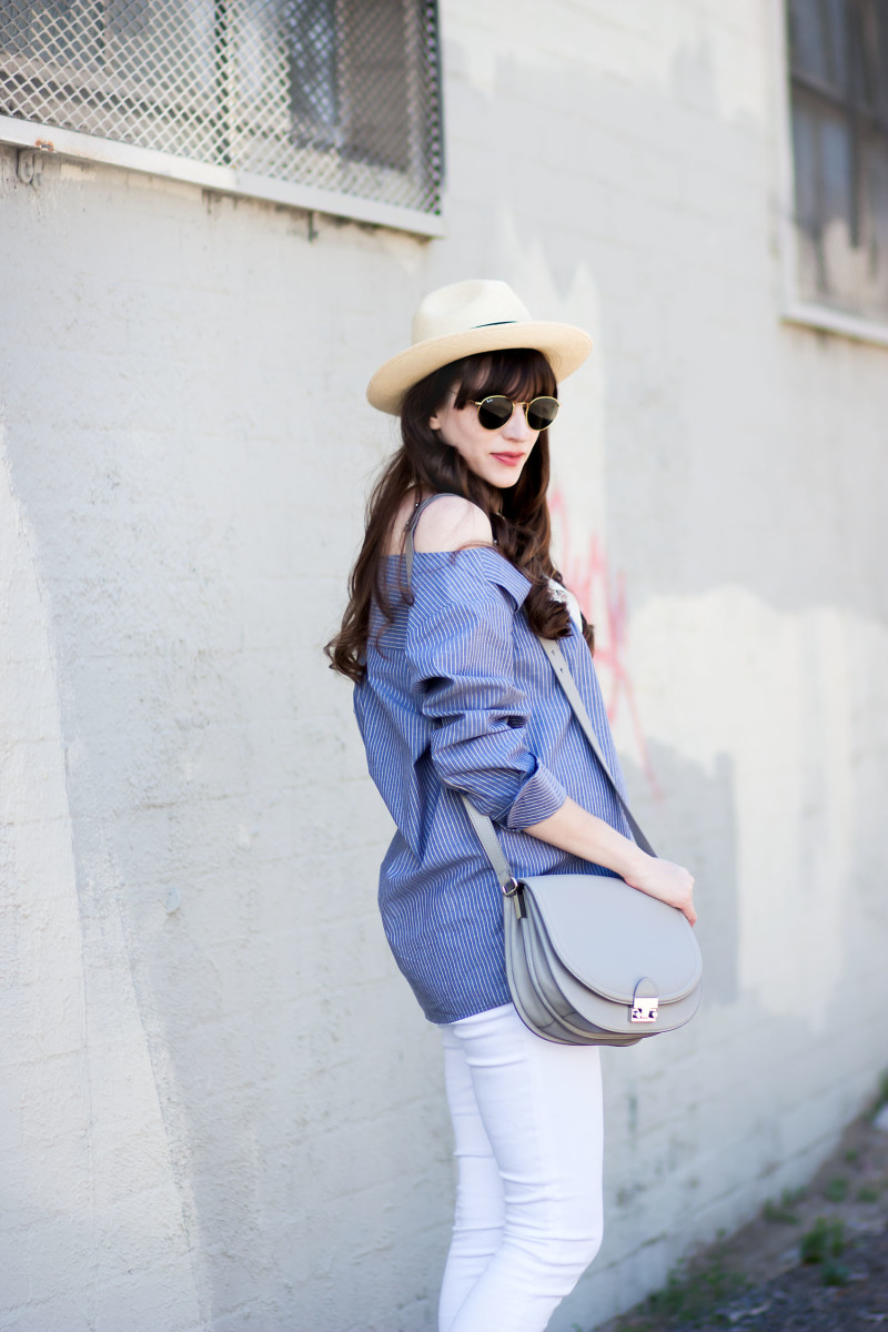Minimalist Fashion Blogger wearing Pinstripe Off the Shoulder Shirt from Achro