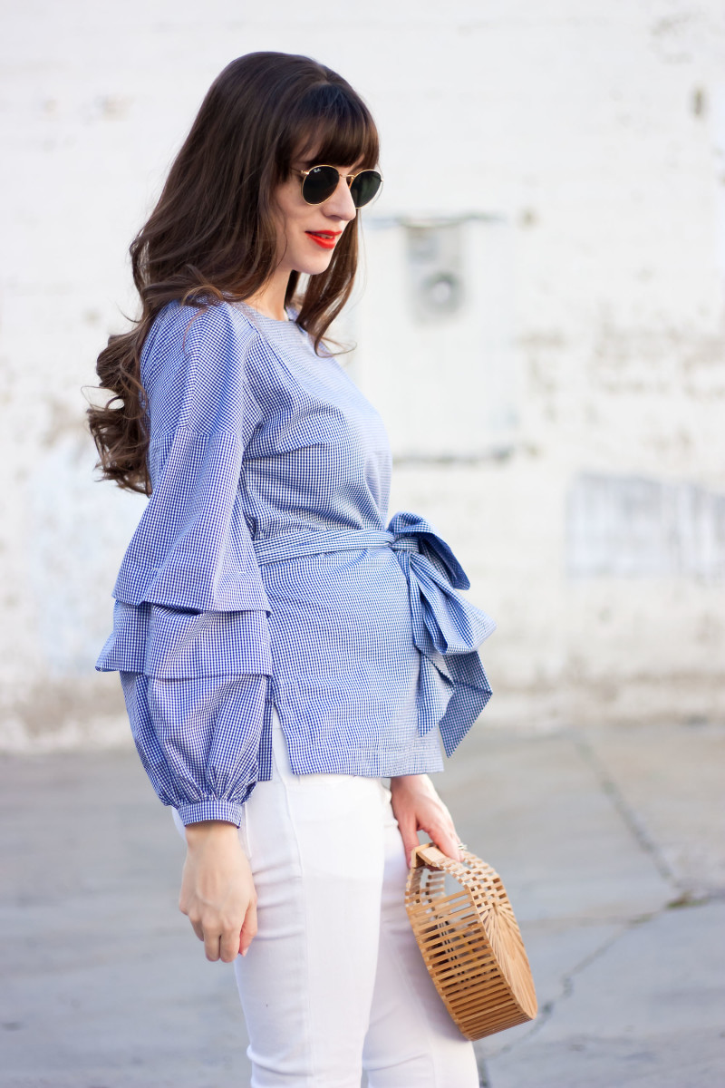 Pregnant Fashion Blogger wearing gingham shirt from Banana Republic