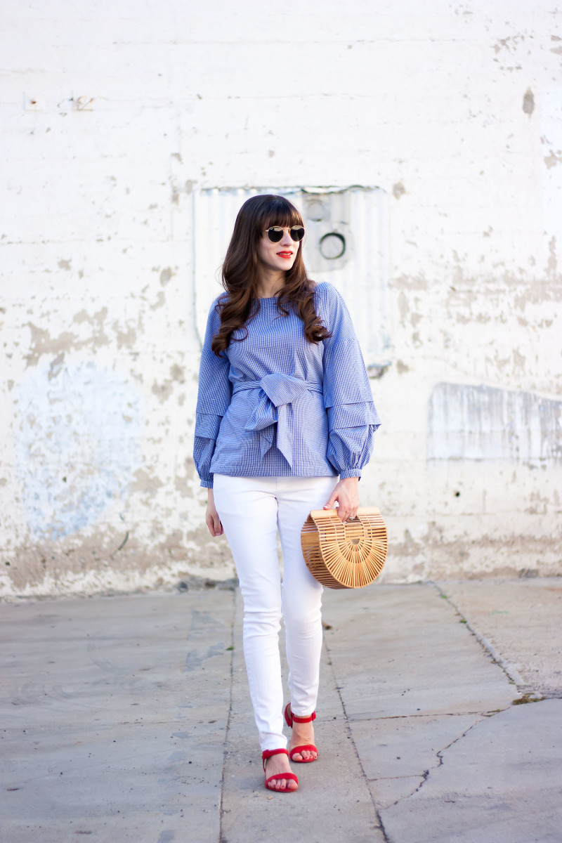 Style Blogger wearing Statement Top for Spring from Banana Republic