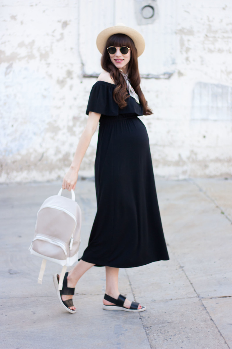 Los Angeles Fashion Blogger wearing Ingrid and Isabel Maternity Midi Dress
