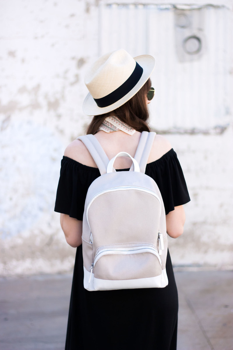 Jeans and a Teacup wearing the Everlane Mini Dipped Backpack