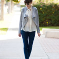 Jeans and a Teacup wearing genuine people silk blouse, grey leather jacket and hush puppies sandals