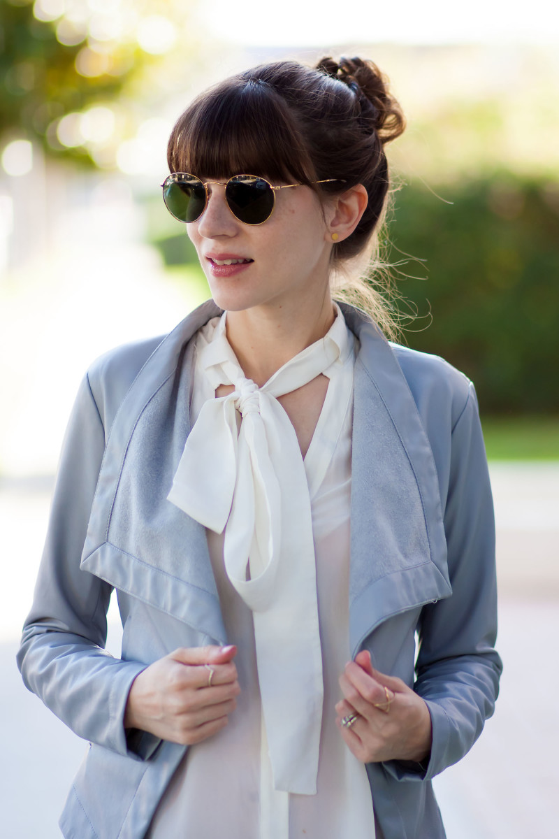 Los Angeles Style Blogger wearing BB Dakota faux leather jacket and bow tied silk blouse