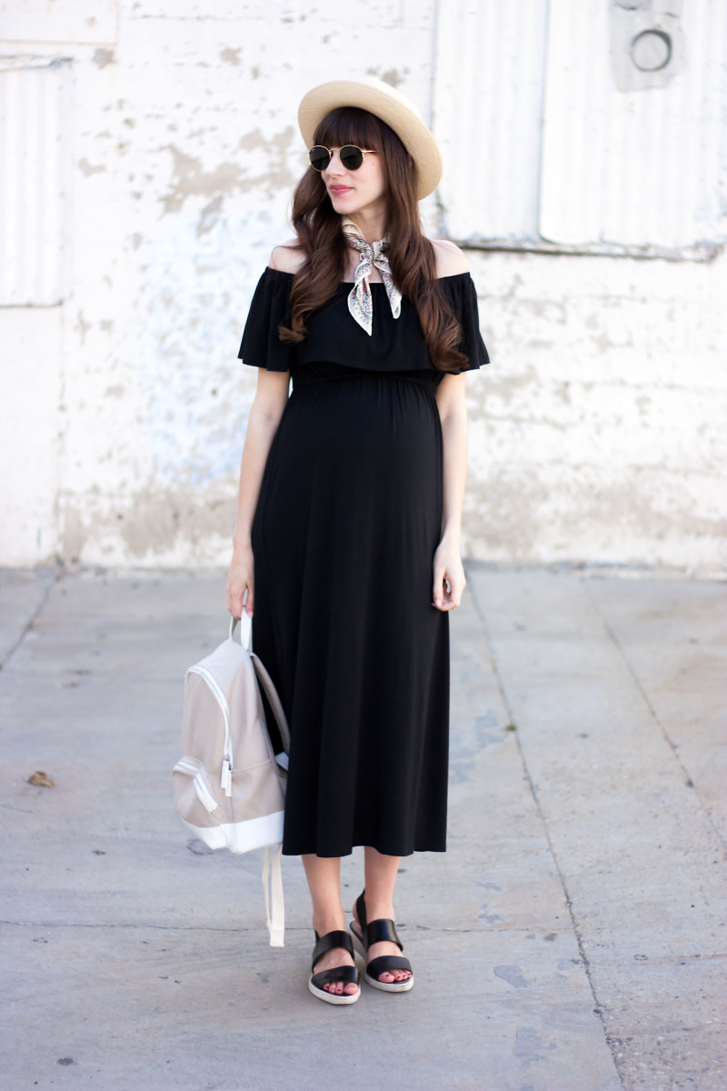 Los Angeles Style Blogger Maternity Style wearing Ingrid and Isabel Off the Shoulder Midi Dress