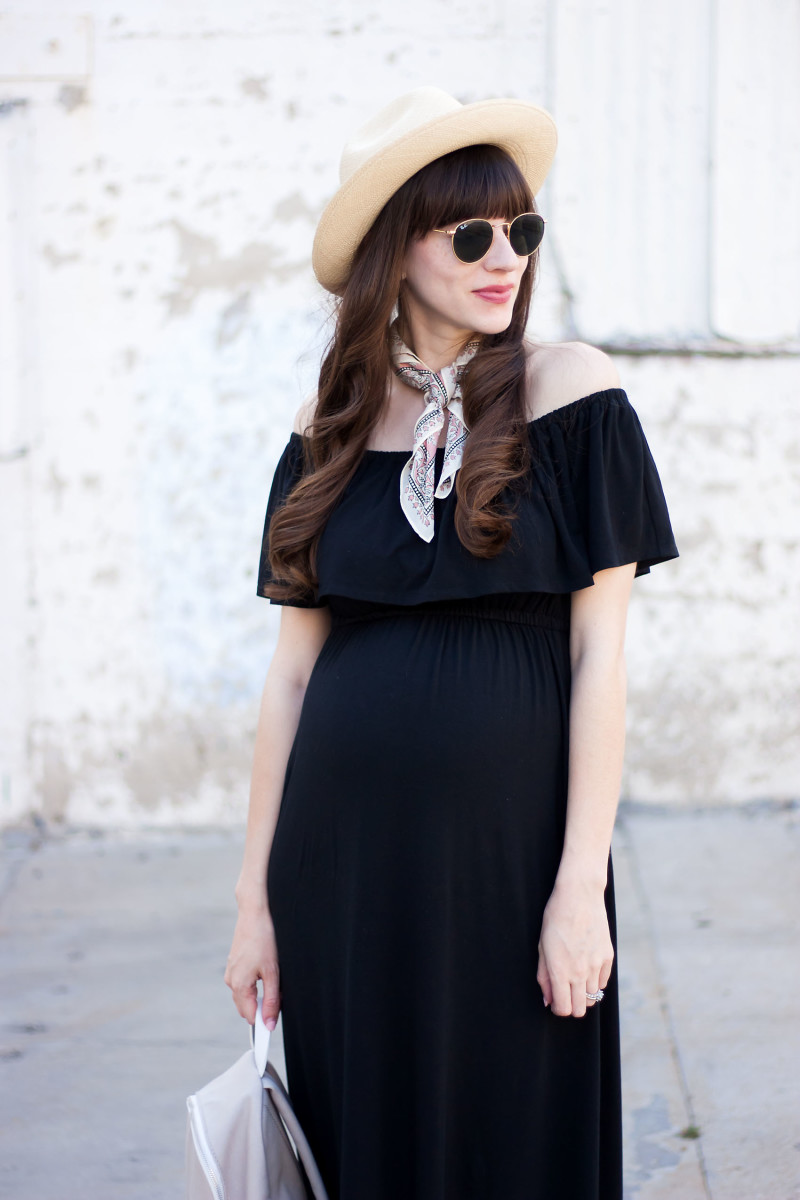 Jeans and a Teacup wearing Off The Shoulder Maternity Dress