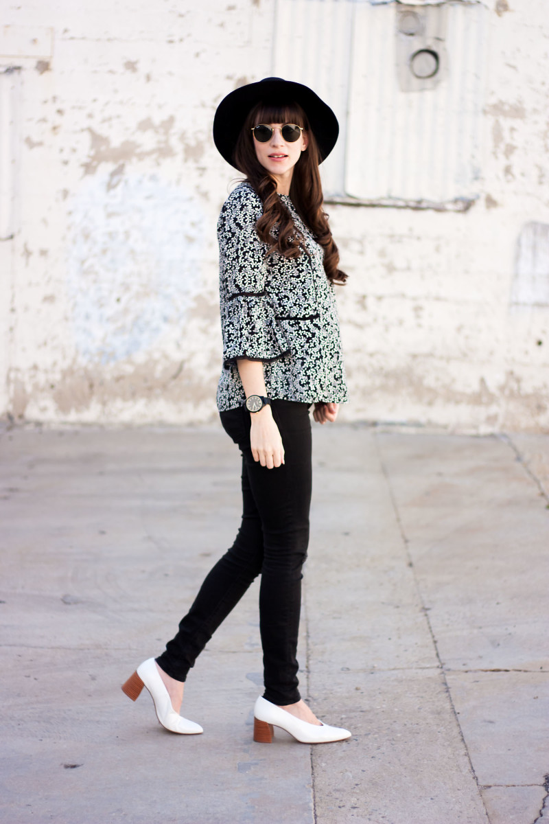 Los Angeles Minimalist Fashion Blogger wearing floral blouse, Zara heels and Kin K Hat