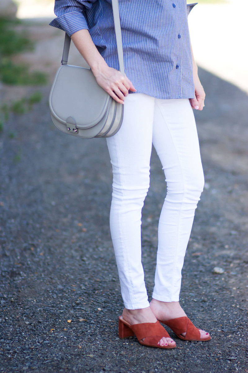 Jeans and a Teacup wearing Madewell Suede Mules and Loeffler Randal Saddle Bag