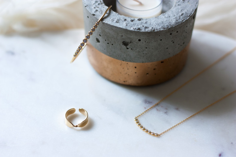Jeans and a Teacup Motif minimalist jewelry collection