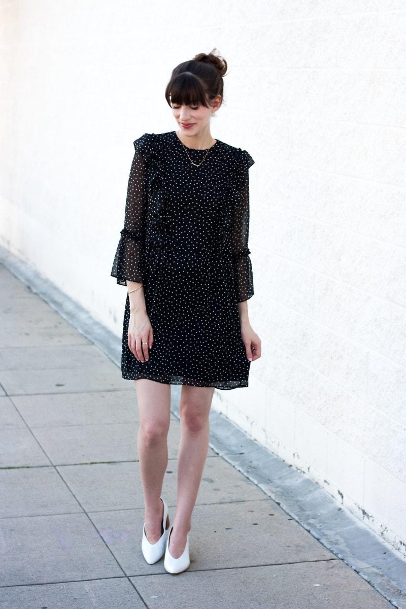 Los Angeles Fashion Blogger wearing polka dot dress from Topshop