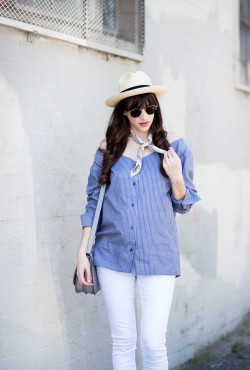 Los Angeles Blogger wearing Minimalist off the shoulder shirt from Achro