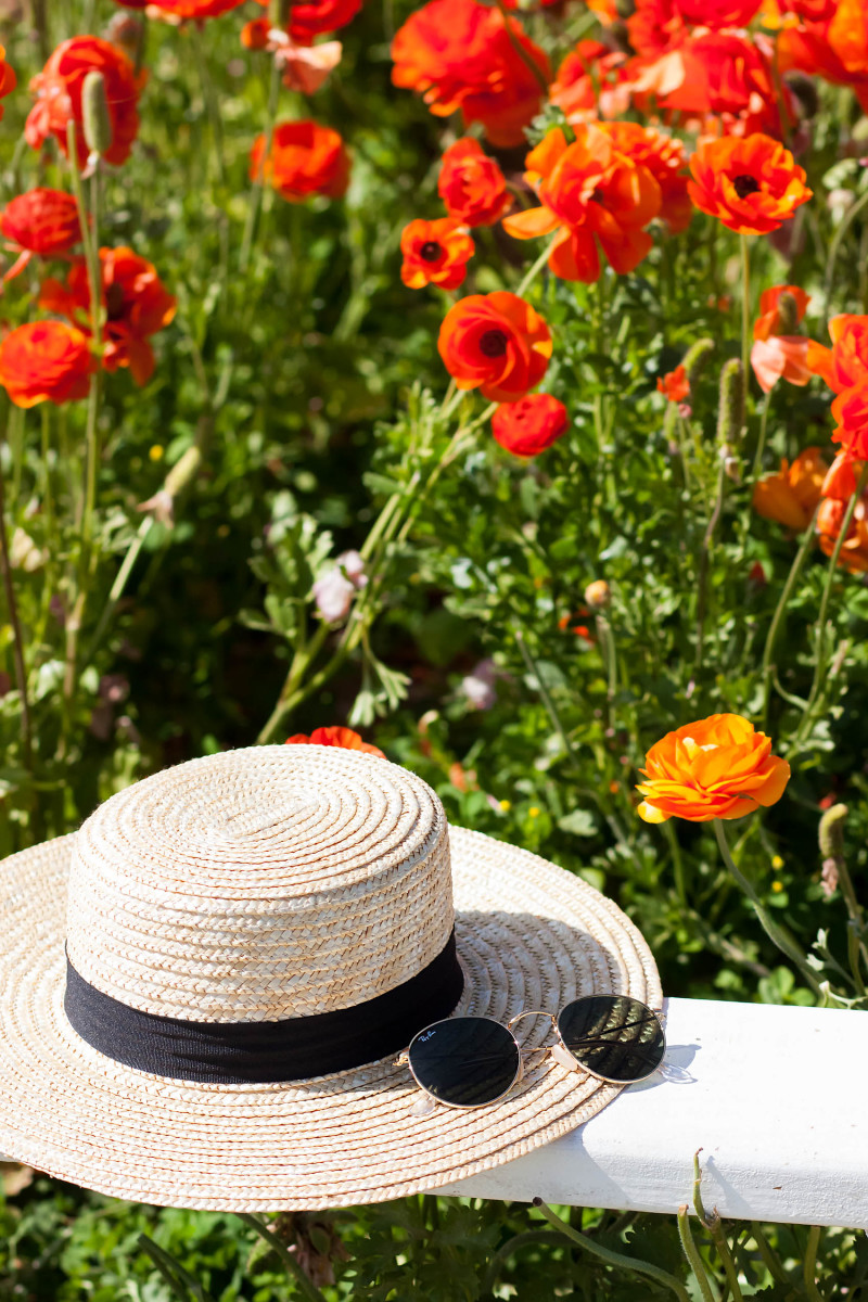 Straw Boater Hat with Rayban Sunglasses at the California Carlsbad Flower Field