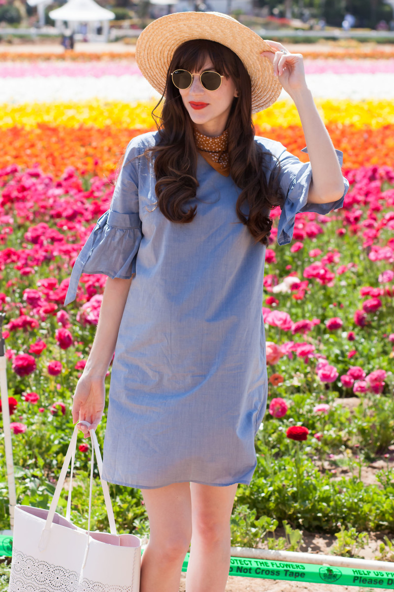Los Angeles Fashion Blogger at the Carlsbad Flower field wearing Who What Wear Dress