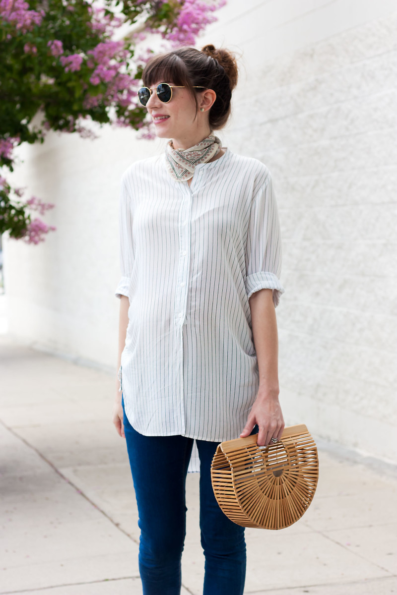 3e4c99f9da84e ... Pregnant Los Angeles blogger wearing non-maternity during pregnancy  Jeans and a Teacup wearing striped tunic and Cult Gaia Bamboo bag ...