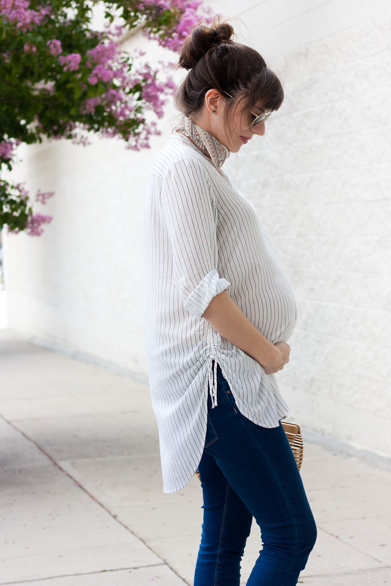 Pregnant Los Angeles blogger wearing non-maternity during pregnancy