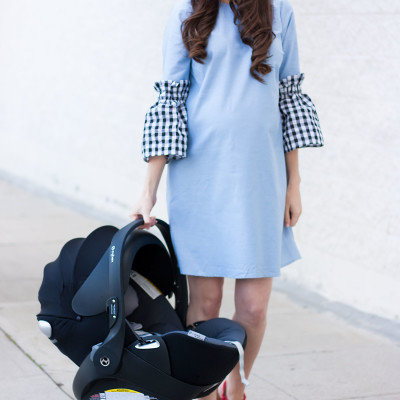 Pregnant Fashion Blogger with Cybex Cloud Q Car Seat