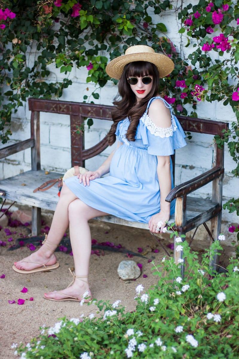 Pregnant Fashion Blogger wearing a crochet chambray dress