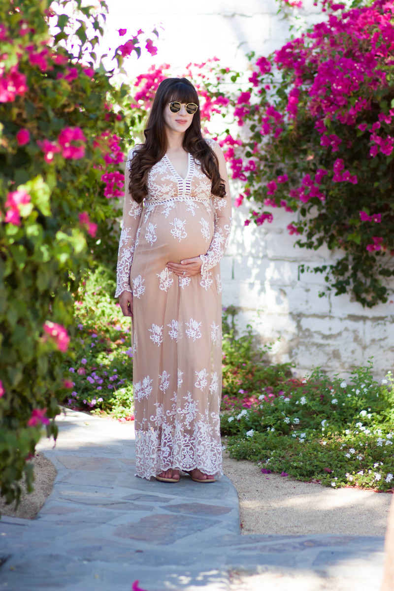 Los Angeles Style Blogger at the Korakia Pensione wearing Embroidered Maxi Dress