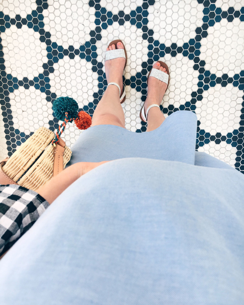 Gingham Maternity Dress at Au Fudge Restaurant