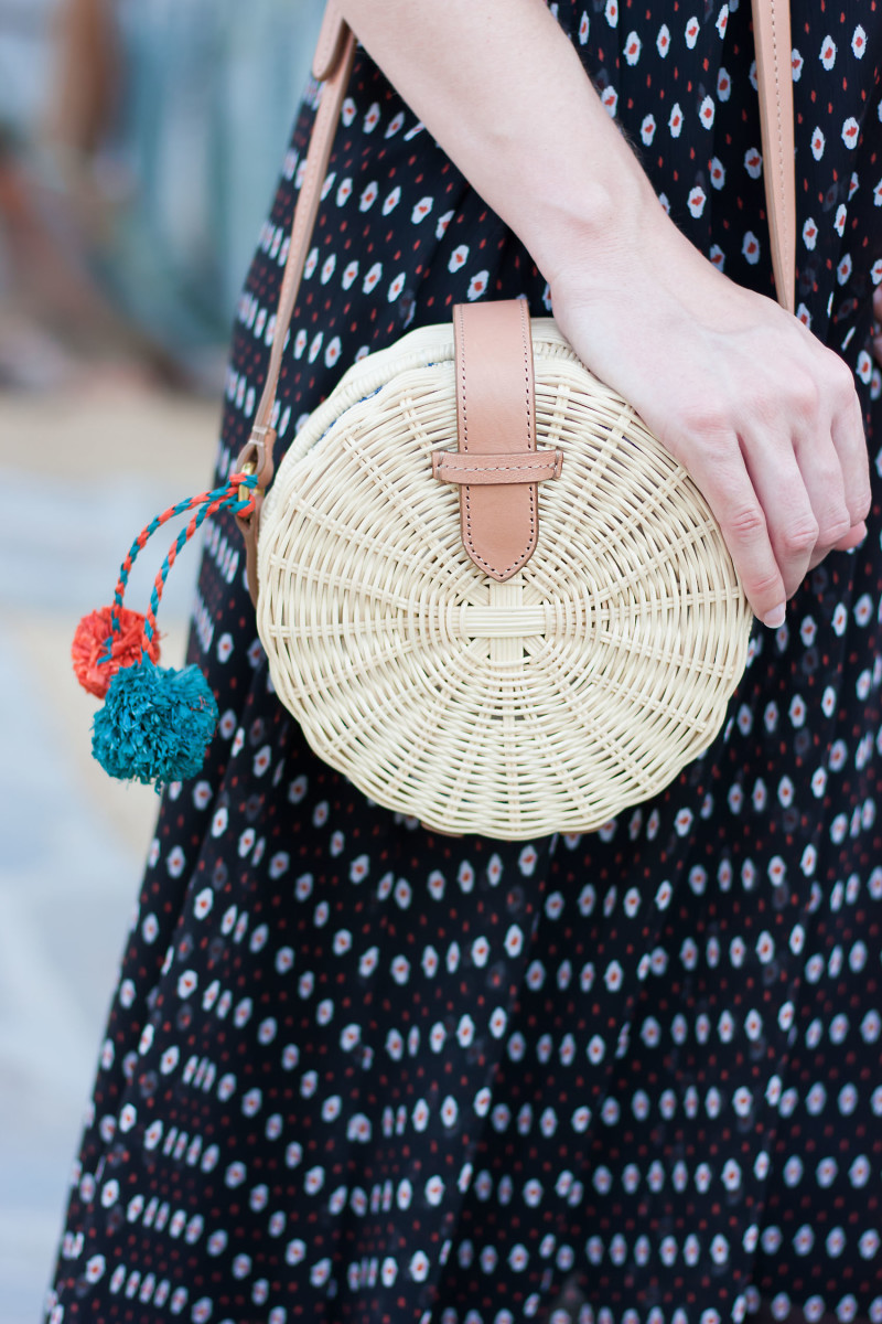 Style Blogger with J.Crew Straw Circle Bag with Pom Poms