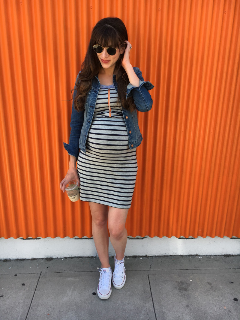Pregnant Fashion Blogger wearing Molly Ades Maternity Tank Dress