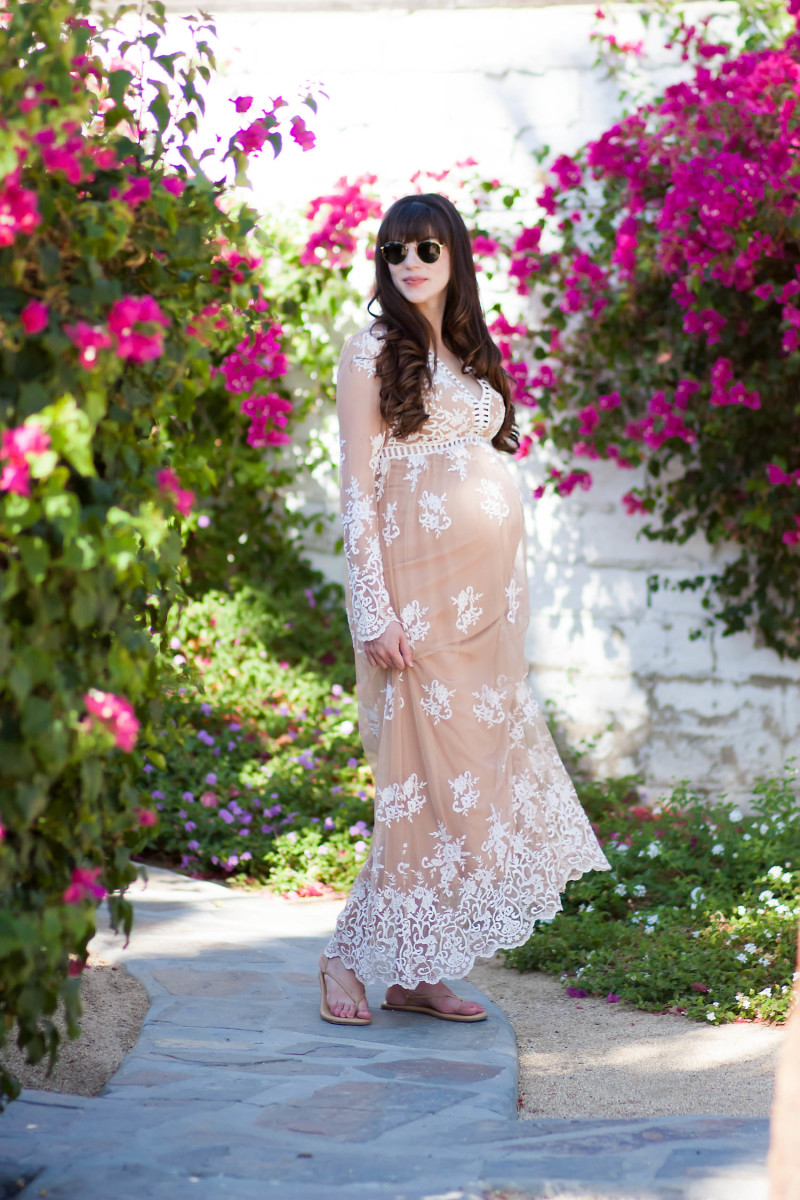Pregnant Fashion Blogger wearing Nude Embroidered Lace Maxi Dress