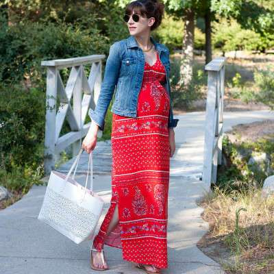 Old Navy red maxi maternity dress on Jeans and a Teacup