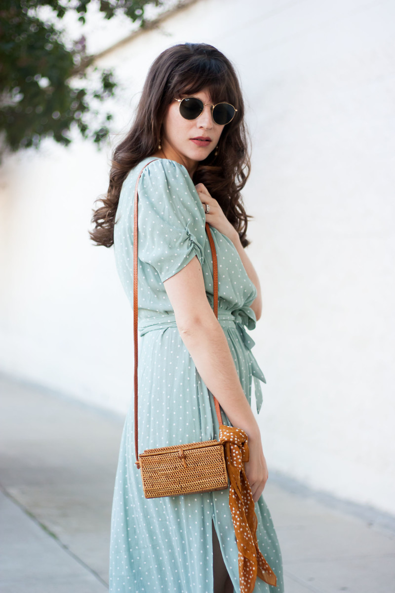 A mint green polka dot dress and 31 bits handmade crossbody bag